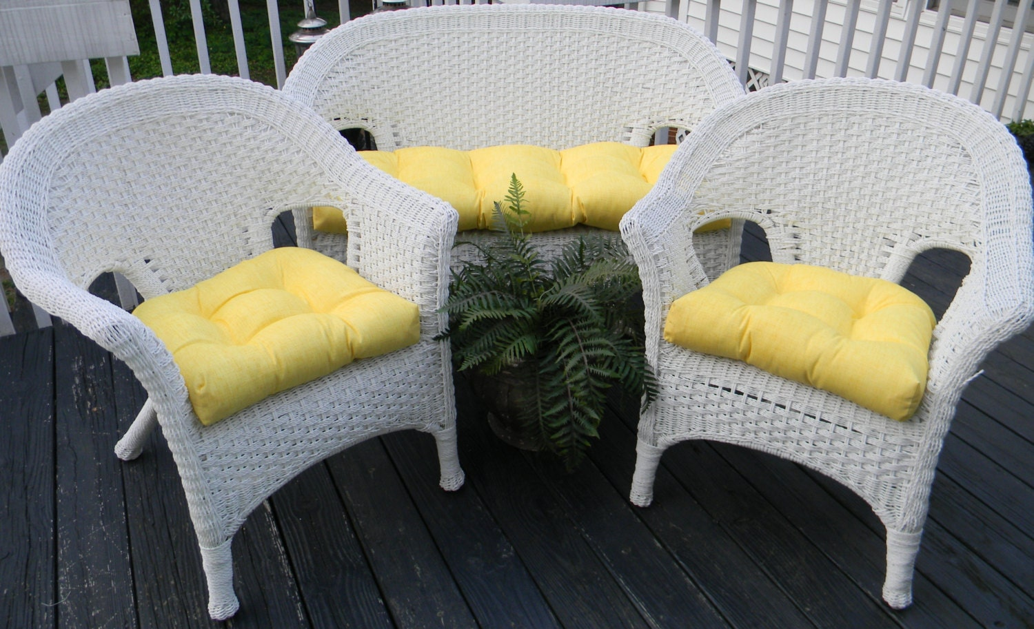 Yellow Solid Cushions For Wicker Loveseat Settee Amp 2 Matching