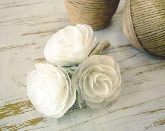 Wedding Boutonniere/Paper Flower Boutonniere/Rustic Boutonniere/Groom's Boutonniere