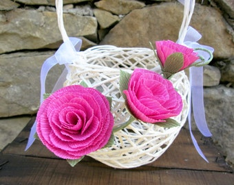 Handwoven Flower Girl  Basket/ Rustic Flower Girl Basket/ Paper Twine Basket/ Rustic Wedding/Wedding Basket/ White Flower Girl Basket