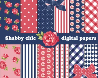 12 Shabby Chic Rose Digital Scrapbook Papers for invites, card making, digital scrapbooking