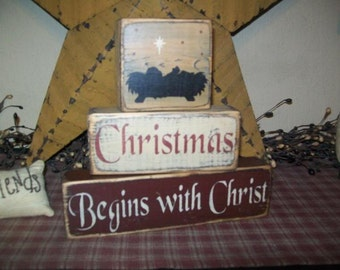 Primitive Christmas Begins with Christ block sign