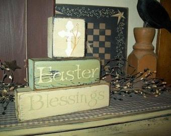 Easter Blessings Cross primitive block sign
