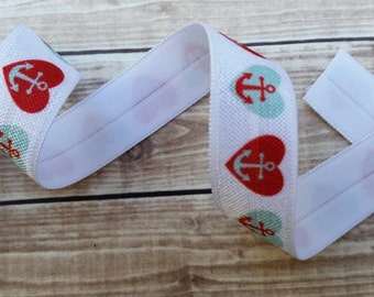 5/8 Reds/Aqua Anchor Heart Fold Over Elastic