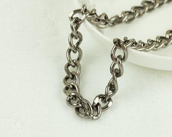 10ft Aluminum Gunmetal Curb Chain,Aluminum Twisted Curb Chain, 12.6x9.2mm, 051B.GU