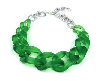 10 pcs Matte Green Acrylic Chain Links,Translucent Plastic Chain Links, 64x45mm Open Link, L0MR.GR