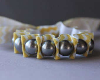 Gray Pearls with Yellow Chevron Ribbon Bracelet