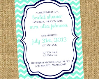 20% OFF PRINTING! Mint and Navy Chevron Bridal/Baby Shower Invitation