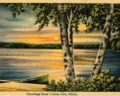 Michigan Vintage Postcard Sunset on Lake Union City 1940