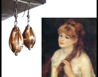 RENOIR - Bronze tone glass dangling earrings, with silver leaf, handmade