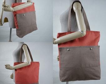 SALE - Hip Boho Burnt Orange & Brown Cotton Canvas Women Bag Handbag Tote/ Shoulder Bag/ Crossbody Bag/Travel Bag/Everyday Bag  - B023