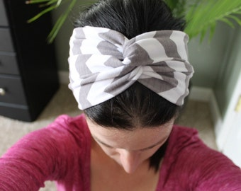 Twist Headband/ Turban Headband/ Wide Turban/ Chevron Headband/ Headwrap/ Workout Headband