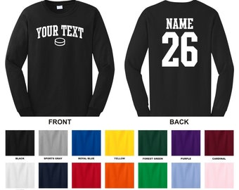 Personalized custom your text and number long sleeve hockey puck t-shirt, you choose the text for the front and back, ARCHED TEXT