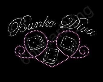 "Rhinestone Iron On Transfer ""Bunko Diva"" Crystal Bling Design Bunco"