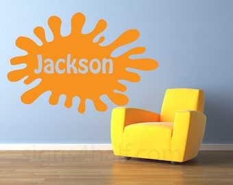 Personalize Nickelodeon Name, Paint Splash Removable Wall Décor Decal Vinyl Sticker for Kids Room