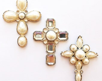 Cross Magnets, Pearl Magnets, Diamond Magnets, Magnets, Decorative Christian Magnets, 2D Crosses, Bling Magnets, Fridge Magnets, Set of 3