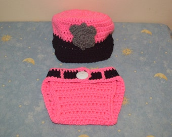 crochet policeman outfit-crochet outfit-policeman baby outfit hat and diaper cover set-photography prop-halooween costume