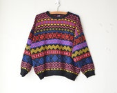 SALE oversized multicolor geometric ugly grandpa vintage knit sweater 80s 90s // sz. S-M