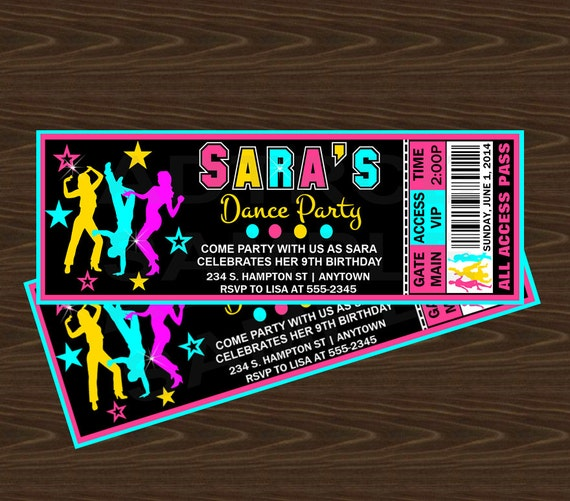 Dance Party Birthday Invitation Neon Party by ...