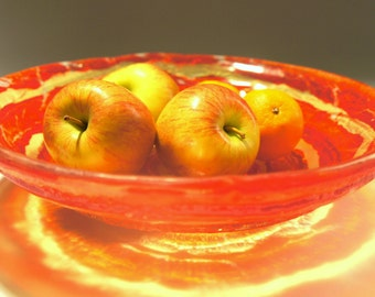 """Red Yellow Fruit Bowl-FREE UK DELIVERY-The Red Swirl - 30cm /12"""" diameter Fused Glass Fruit Bowl"""