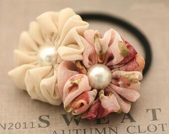 Handmade Soft Chiffon Hair Circles Dual color Flower Elastic Hair Ties Ponytail Holder