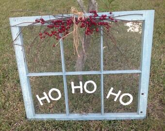 Painted Old Sash Window,Christmas HO HO HO, Annie Sloan, Provence, Vintage Window