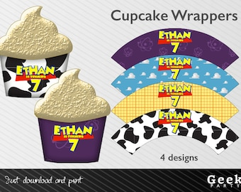 Toy Story Inspired Cupcake Wrappers - Digital or Printed - Cow - Cowboy - Space - Clouds