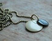 Circles *  minimalistic geometric necklace beige black  / urban / for her