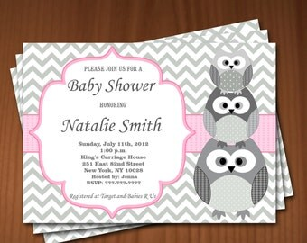 Owl Baby Shower Invitation Girl Baby Shower invitations Printable Baby Shower Invites -FREE Thank You Card - editable pdf Download 539 rose