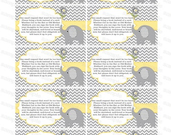 Bring a book insert card baby shower bring a book instead of a card elephant baby shower invitation insert baby shower (87t) yellow pdf