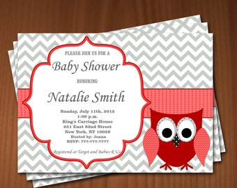 Owl Baby Shower Invitation Girl Baby Shower invitations Printable Baby Shower Invites -FREE Thank You Card - editable pdf Download 573 red