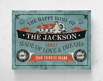 "FREE SHIPPING / Personalized Print / family name, housewarming gift, anniversary  / ""The Happy Home"" / 12""x16"""