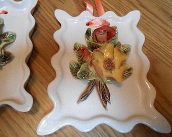 pocelan /ceramic floral plaques
