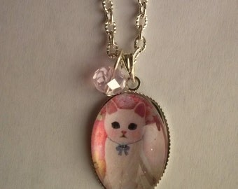 cat necklace white cat picture pendant