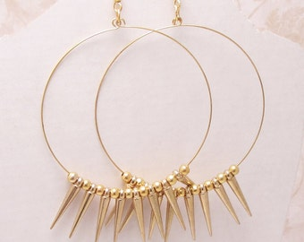 Hoops and Spikes,Large Gold Hoops