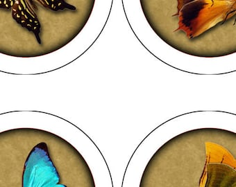Butterfly Collection, Digital Collage Sheet, 42 1 inch round, 25mm, Glass Tiles, Resin, Bottlecap