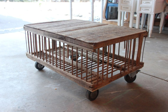 Chicken crate coffee table with industrial casters for Crate style coffee table