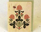 Red Clover Valentine Eco-Friendly Fine Art Wood Greeting Card