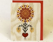 Sunflower Valentine Eco-Friendly Fine Art Wood Greeting Card