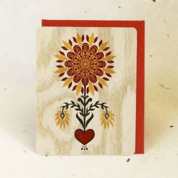 Valentine Eco-Friendly Fine Art Wood Greeting Card