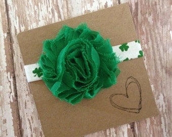 St. Patrick's Day Headband, Green or White St. Patty's Day Flower Headband, Green Clover Elastic