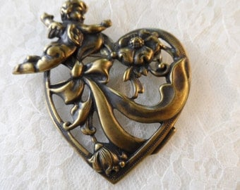 """Ex-large stamped cupid and heart pin,2&1/2"""",1pc-KC385"""