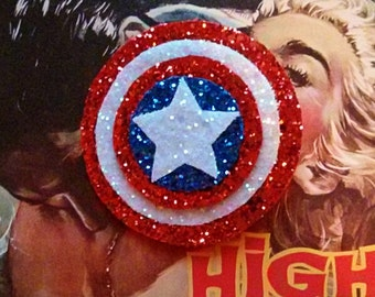 10% off with the code BDAY10  Glittery The Avengers Captain America Inspired Hair Clip or Brooch