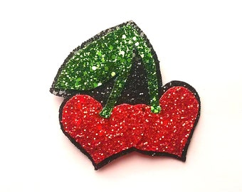 10% off with the code BDAY10  Rockabilly Red Cherry Hearts Glitter Hair Clip