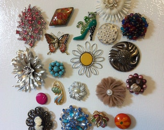 Grab Bag of 10 Repurposed Brooch Magnets