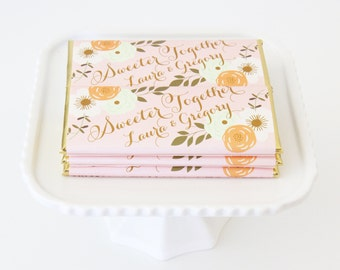 Country Rustic Floral Personalized Candy Bar Wrapper. Choice of Gold, Silver, Gold Copper or Copper Foil included.
