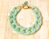 Chunky Chain Bracelet Mint Green Acrylic Thick Statement Designer Celebrity Inspired