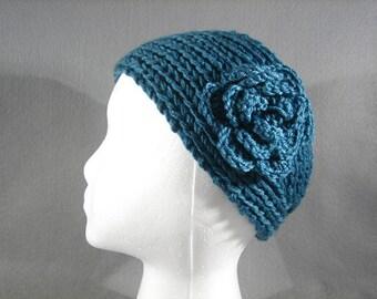 Knitted Headband with Flower, Knit Headbands- Handmade