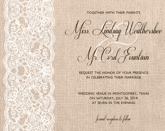 Wedding Invitation - Digital, Shabby Chic, Burlap, Lace, Script, White, Natural