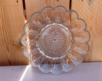 Vintage Clear Indiana Glass Deviled Egg Plate
