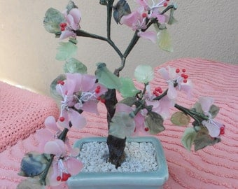 Pink Leaved Bonsai in Green Container